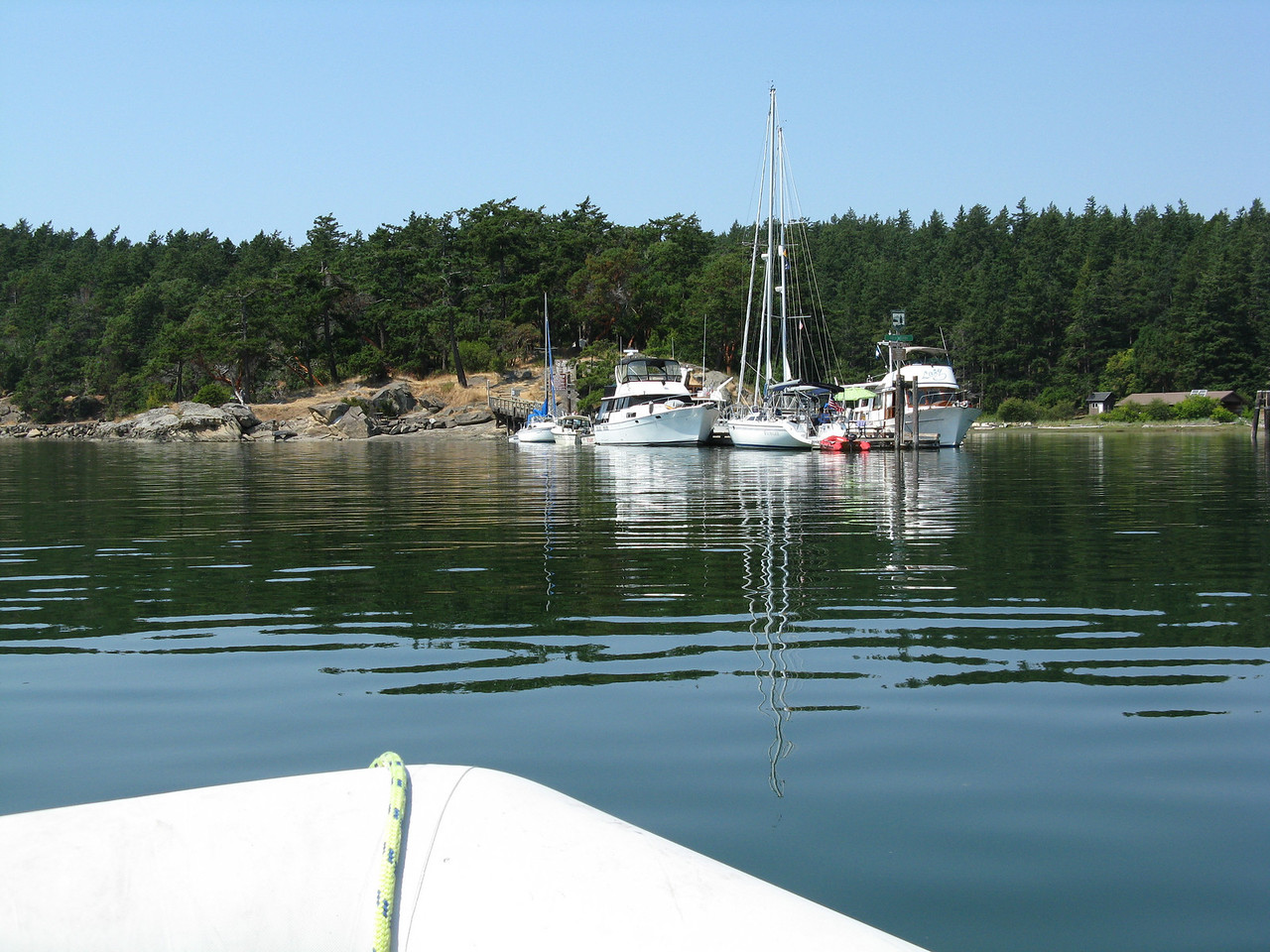 We arrived in Fossil Bay on Sucia Island.   Incredibly, we were able to tie up to the dock.   This view is from the dinghy.