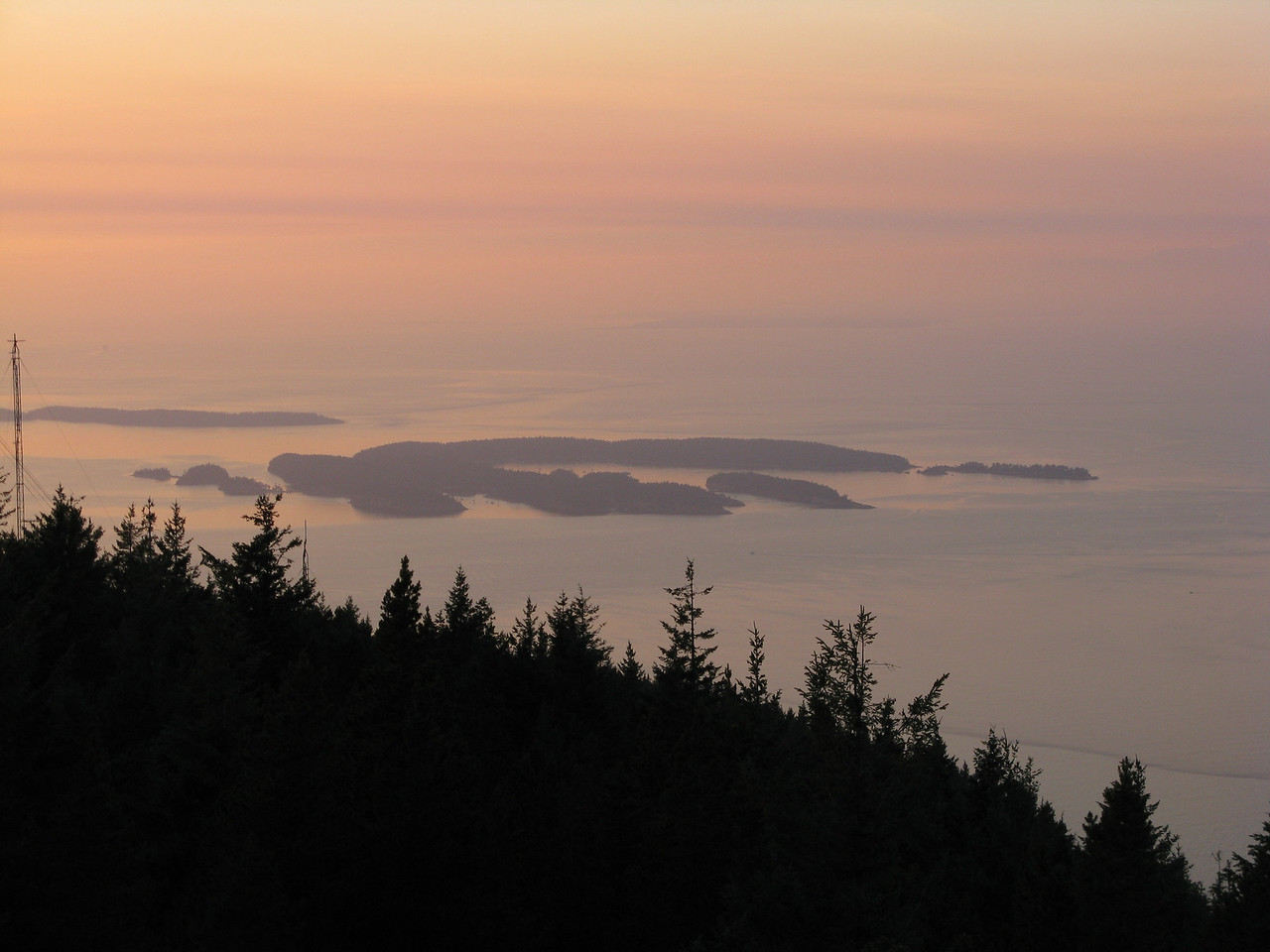 We drove up to Mount Constitution.  From the watchtower, we looked north to see Sucia Island in the distance, from where we had set sail earlier in the day.