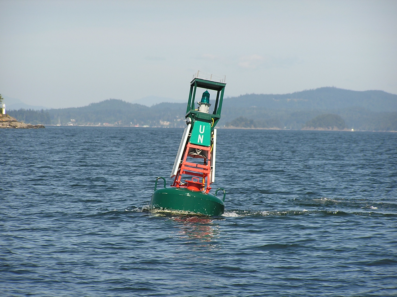 Strong current is causing the buoy to heel