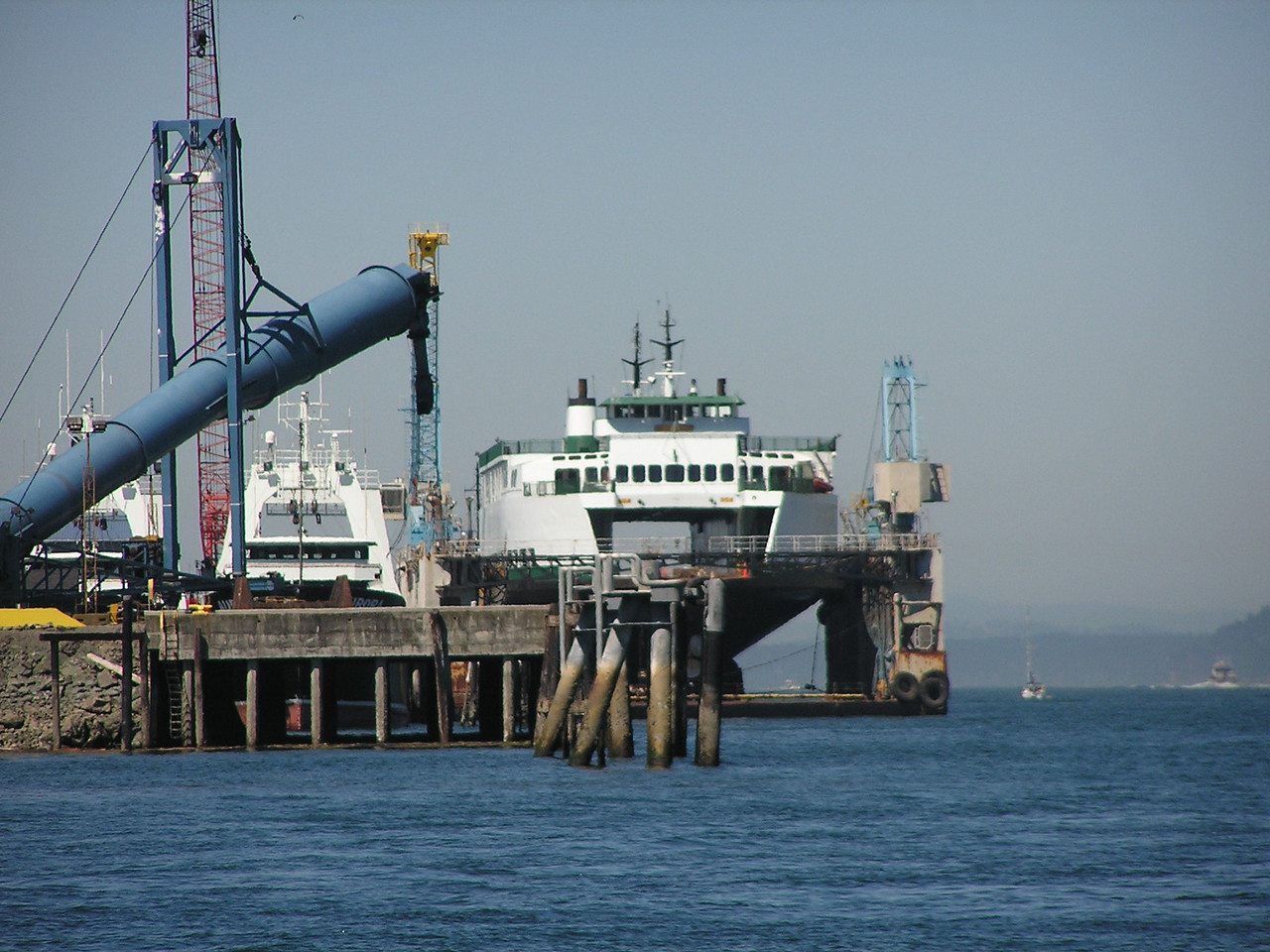 a Washington State Ferry in dry dock