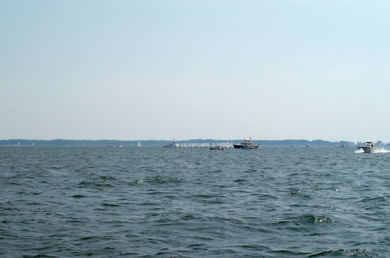 Starting line as seen from the Finish boat.