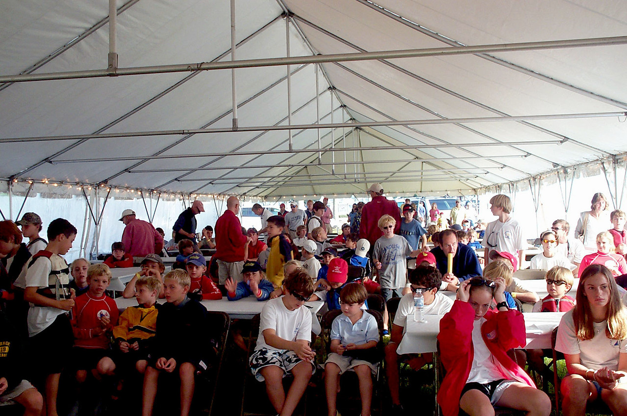 Tent for skippers meeting.