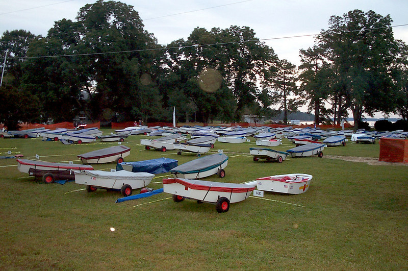 Opti rigging field after racing.