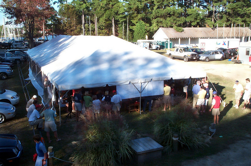 Tent as seen from the upstairs window of the clubhouse.