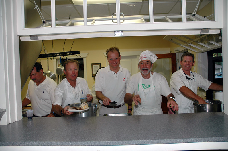Frank Murphy, Steve Swenson, John Hubbard, Alain Vincey and James Jacob handing out the food.