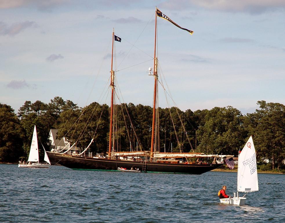 Schooner Virginia anchored in front of FBYC.