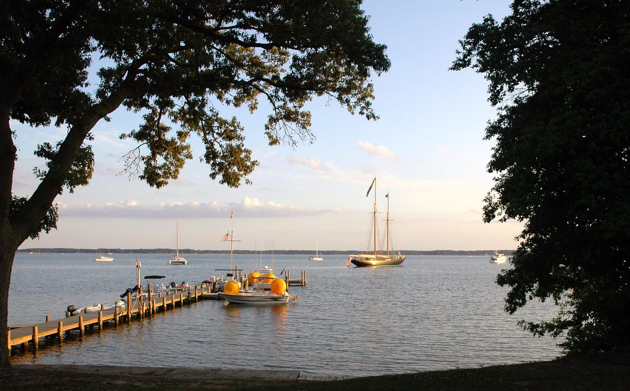 Schooner Virginia anchored in Fishing Bay.