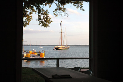 Schooner Virginia as seen through the FBYC porch.
