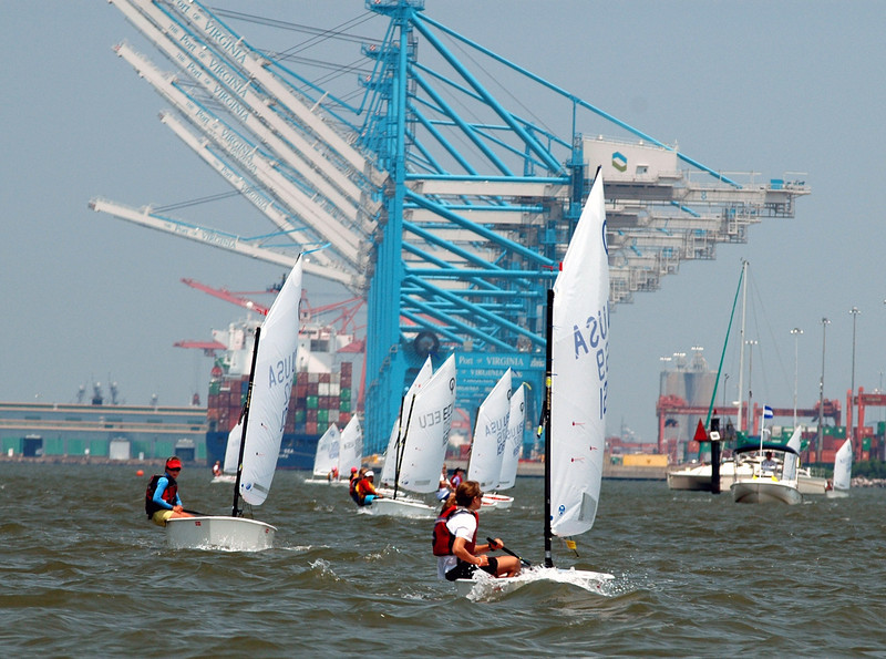 Racing in near the port in the Elizabeth River during the Girls National Championship