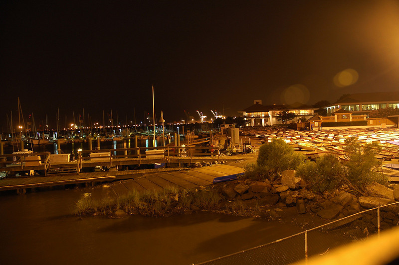 The night time view of Norfolk Yacht and Country Club from the Laafayette River bridge.