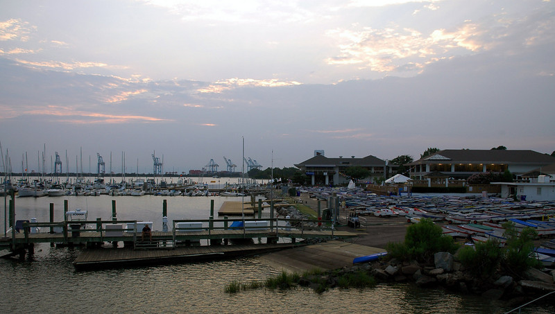 The view of Norfolk Yacht and Country Club as the sun set from the Laafayette River bridge.