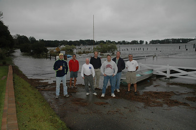 Laser sailors trapped due to high water. Ted Morgan, Bob Tan, David Clark, John Hubbard, Mike Schmidt, Eric Powers and Ron Jenkins.