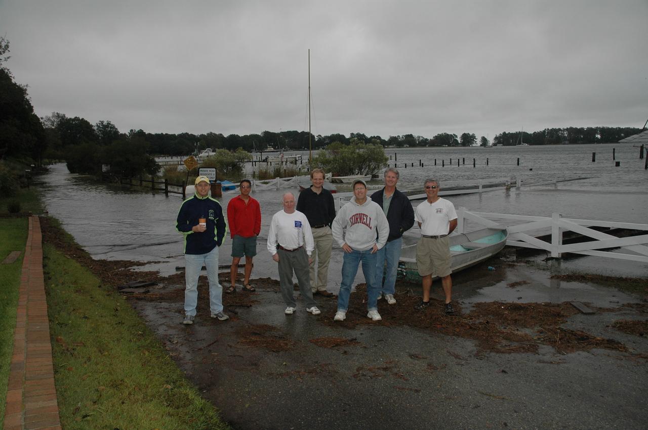 Laser sailors trapped due to high water. Ted Morgan, Bob Tan, David Clark, John Hubbard, Mike Schmidt, Eric Powers and Ron Jenkins.