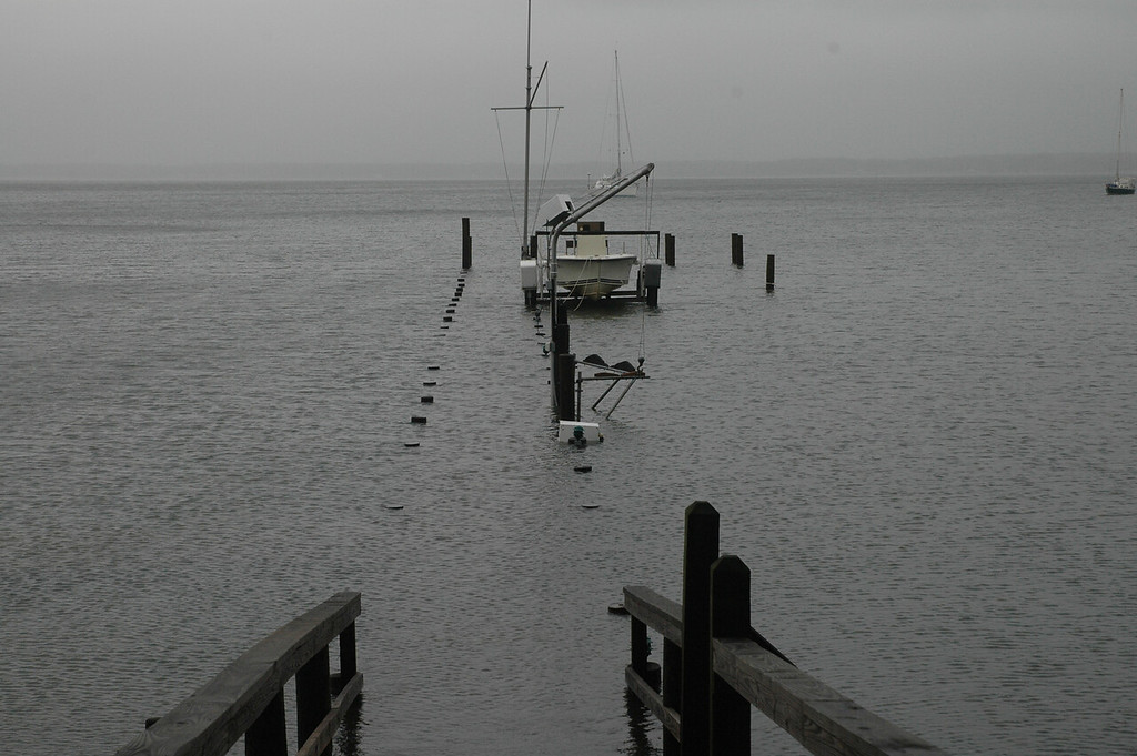 At the tide's highest point, water just covered the tops of the pilings on the Fishing Bay dock.