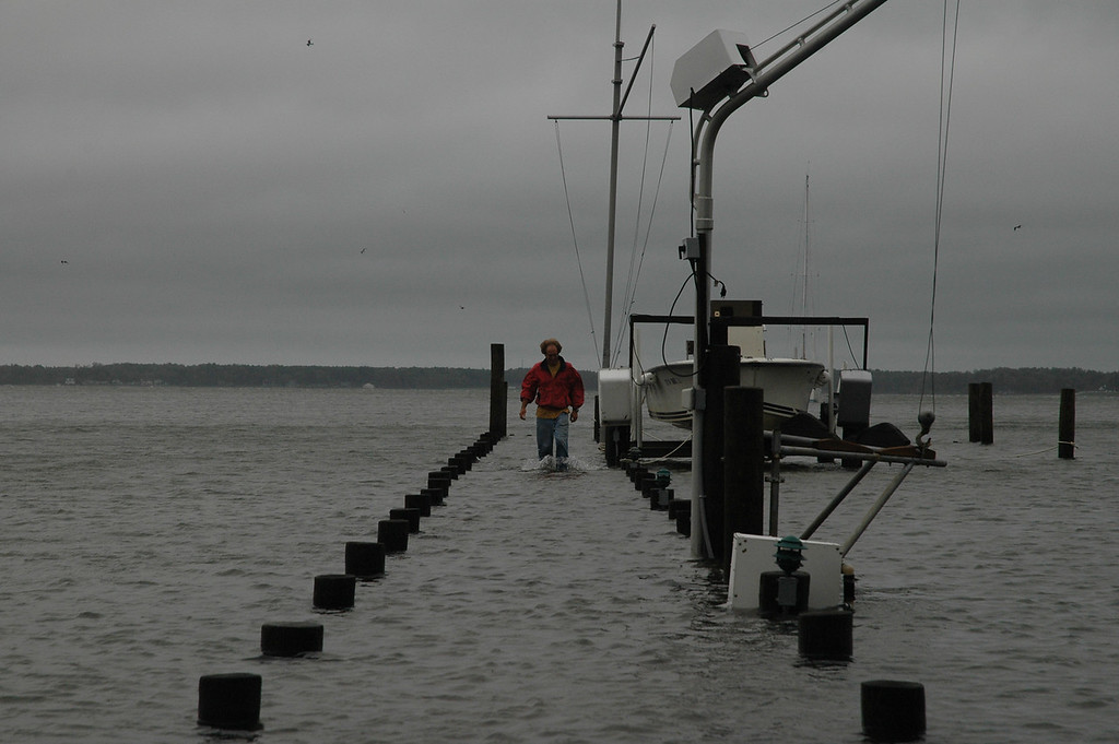 Dixon Cole walking down the dock on Fishing Bay.