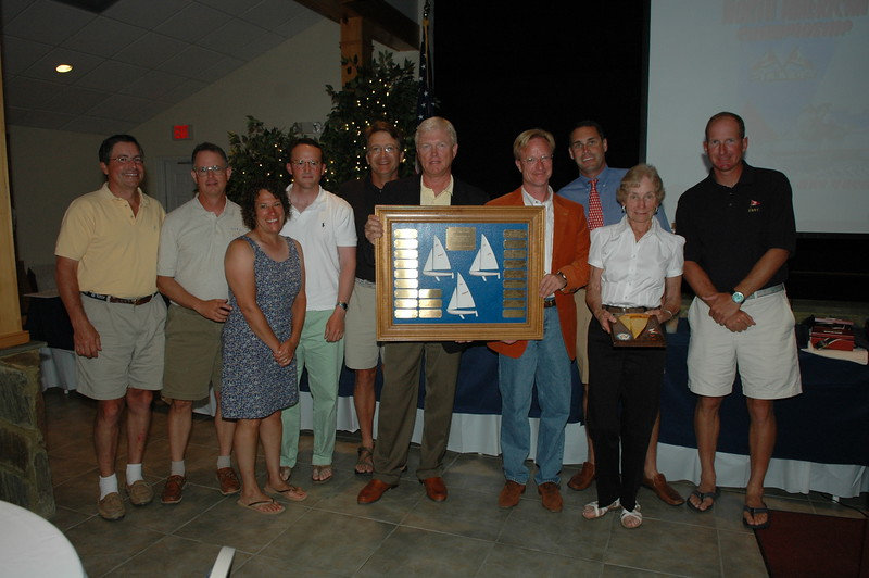 Fleet 1 Trophy presented to the best fleet at the North American Championship counting the top three finishers Fishing Bay Yacht Club Fleet #103 41/5341 Travis Weisleder/Ernie Deiball, 38/2886 Blake Kimbrough/Lud Kimbrough, 16/2680 Mike Miller/Amy Miller/John Wake