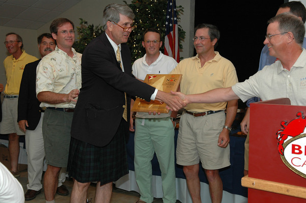 Fishing Bay Yacht Club Flying Scot Fleet #103 presenting Noel Clinard with a token of their appreciation for his work on the 2007 Flying Scot North American Championship.