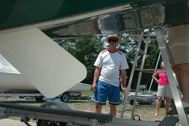 Mike Miller inspecting a centerboard