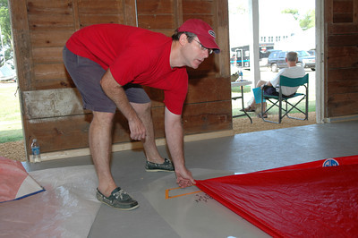 Len Guenther measuring sails