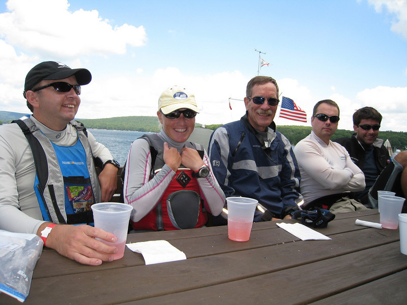 Ted Morgan, Kim Couranz, Roger Link, Holger Hinsch and Brennen Drysdale enjoying lunch.