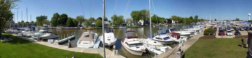 Panoramic photo facing the waterway in front of Vermilion Boat Club in Vermilion Ohio. 11 photos taken with a Nikon S50c stitched in Photoshop CS3.