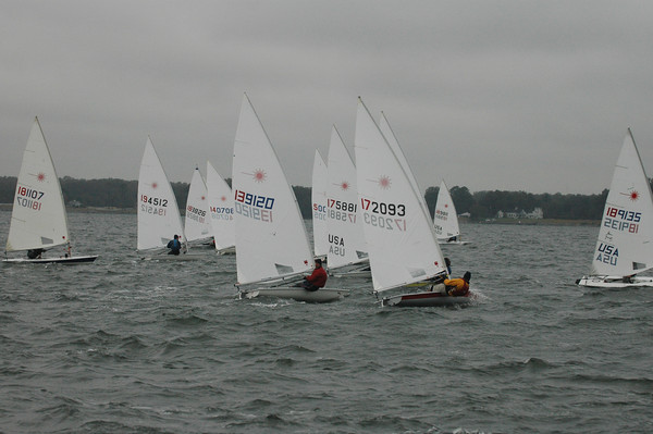 Fleet going upwind in race 2. 172093 Mike Toms, 139120 Mike Heffernan