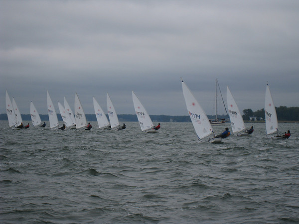 fleet sailing upwind in the 2nd start on Sunday.