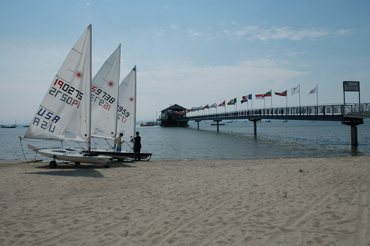 Lasers being riggd on the beach during day 1 of the Laser North American Championship at the Buffalo Canoe Club