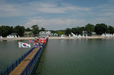 View of the dock and boats being rigged at the Buffalo Canoe Club for the Laser North American Championship