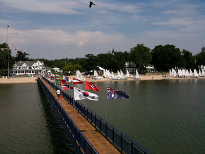 Lasers being rigged on the beach during day 1 of the Laser North American Championship at the Buffalo Canoe Club