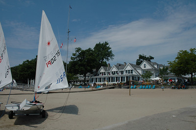 Lasers being rigged on the beach at the Buffalo Canoe Club during day 1 of the Laser North American Championship