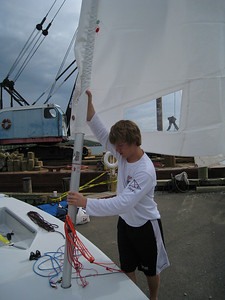 Kyle Swenson rigging his laser.