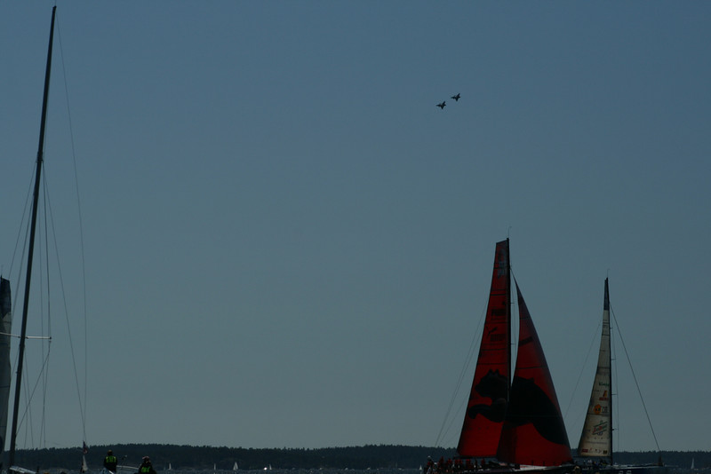 Swedish airforce doing a flyby over the race course.