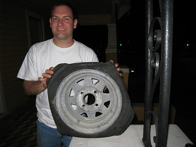 Jon with the flat tire.