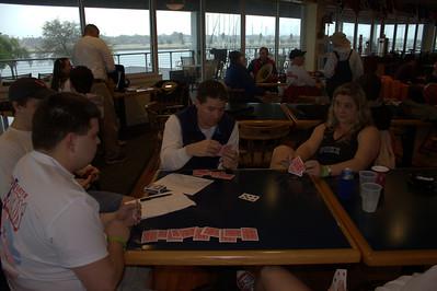 Card game #734543 while it rains at the club. Matt L, Matt B, Jen