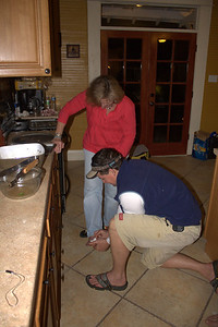 Matt helping Sue with her wounded foot.