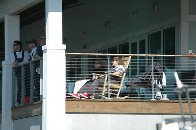 Mark, Keith, Lee, Sue and Kelley watching the remaining Front Runners from the club deck.
