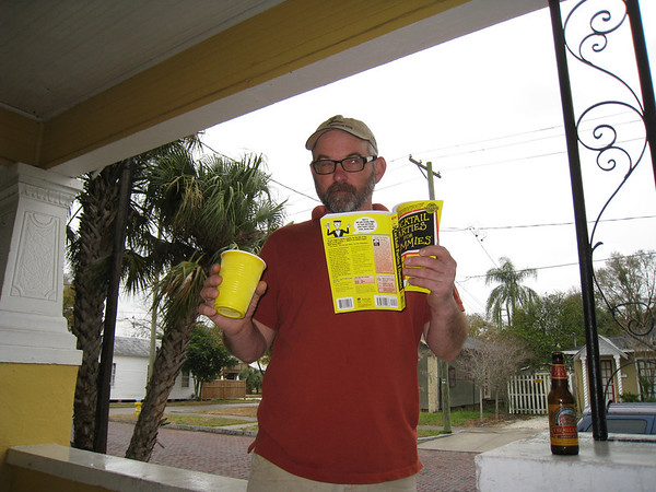 """Rick with his book: """"Cocktail parties for Dummies."""""""