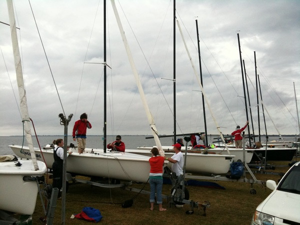 Rigging the boats between rain storms.