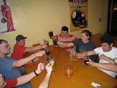 Brad, Kevin, Matt L, Melissa, Mark having drinks after a long drive to Tampa.