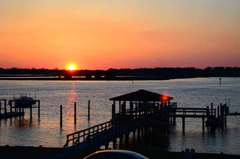 Sunset over the sound at Wrightsville Beach.