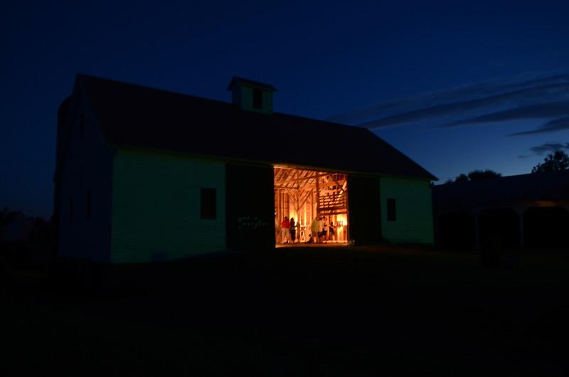 Rosegill barn at night.