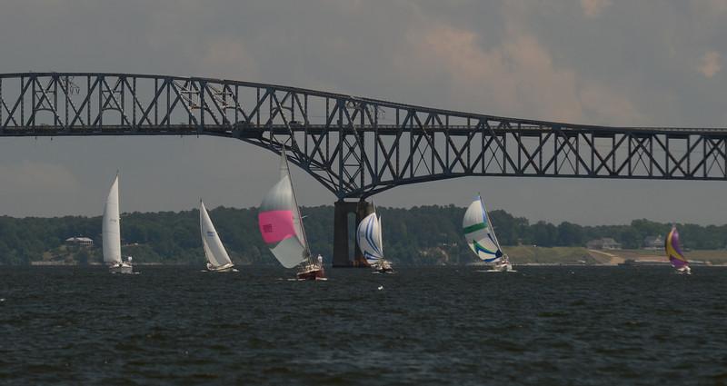 Fleet passing the Rappahannock River Bridge