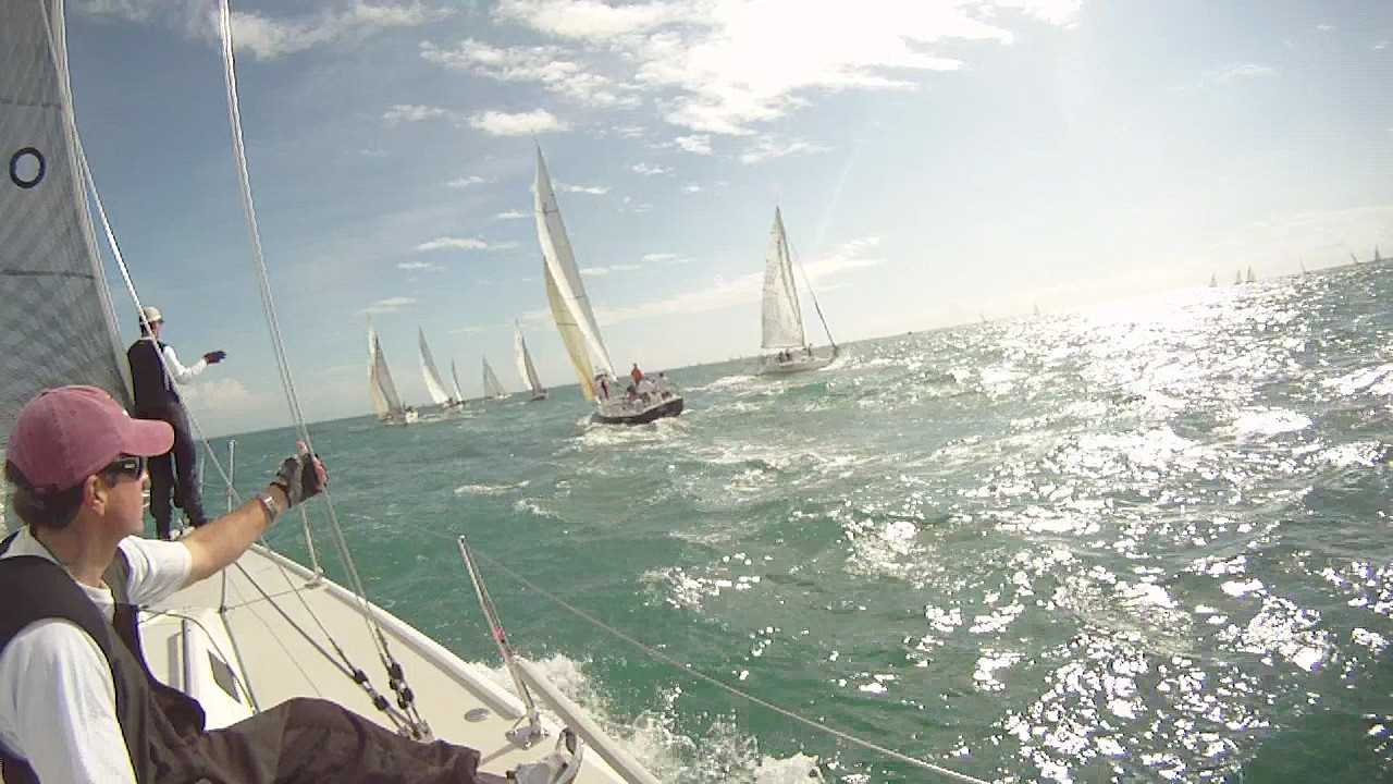 During the start of race 2: Lud and Tal