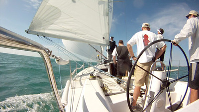 Screen capture from our onboard video. Sailing downwind.