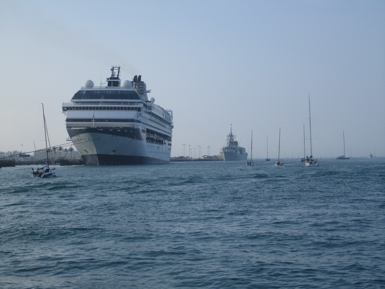 Heading out to the race course by the cruise ships.