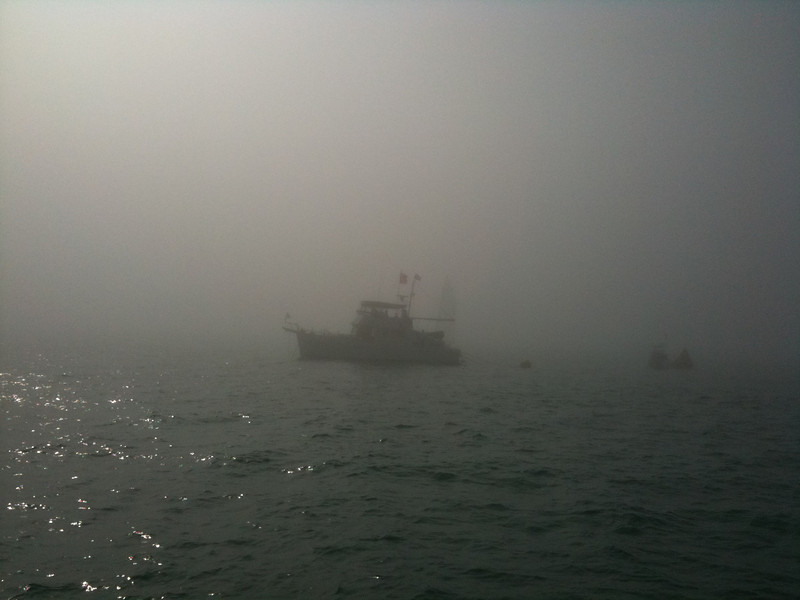 Incredibly foggy out at the race course. Had to navigate by iPhone app just to find the committee boat.