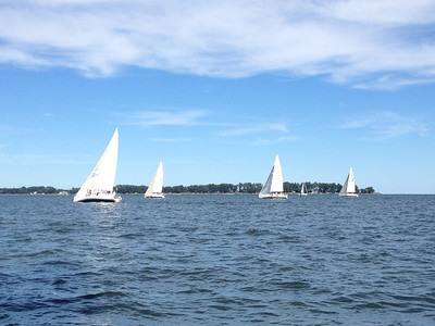 A fleet going upwind inside Stove Point.