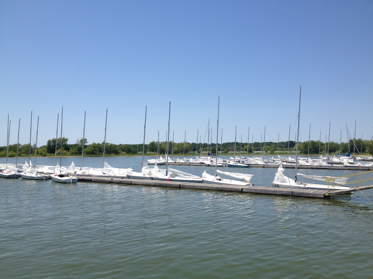 Boats docked on Thursday waiting for the wind to come back up.