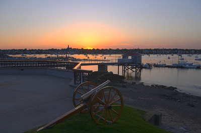 5/19 Sunset over Marblehead harbor as seen from the waterfront at Eastern Yacht Club